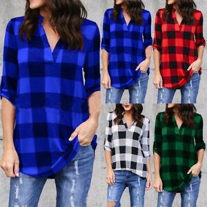 Moda-Mujeres-Cuadros-de-Cuadros-Camiseta-Informal-de-Mujer-Camisas-Tops-Blusa-Gb