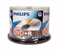 50 Philips Blank Dvd+r Plus R Logo Branded 16x 4.7gb Media Disc Cake Box