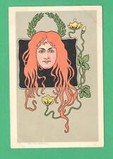 VINTAGE BELLES FEMMES ART NOUVEAU POSTCARD BEAUTIFUL LADY RED HAIR FLOWERS