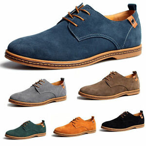 NEW-Mens-Suede-Shoes-Dress-Formal-Oxfords-Lace-Up-Casual-Flats-Loafers