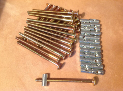 12-FURNITURE//BED BOLTS W//BARREL NUTS HARD TO FIND BRASS-COLOR 75 mm x 6 mm