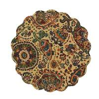 Placemats Jewel Shades Of Tan Wine Green Blue Orange Quilted Round Park Designs