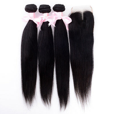 100% 8A Brazilian Straight Human Hair 3/4 Bundles With 4*4 Lace Closure Weft