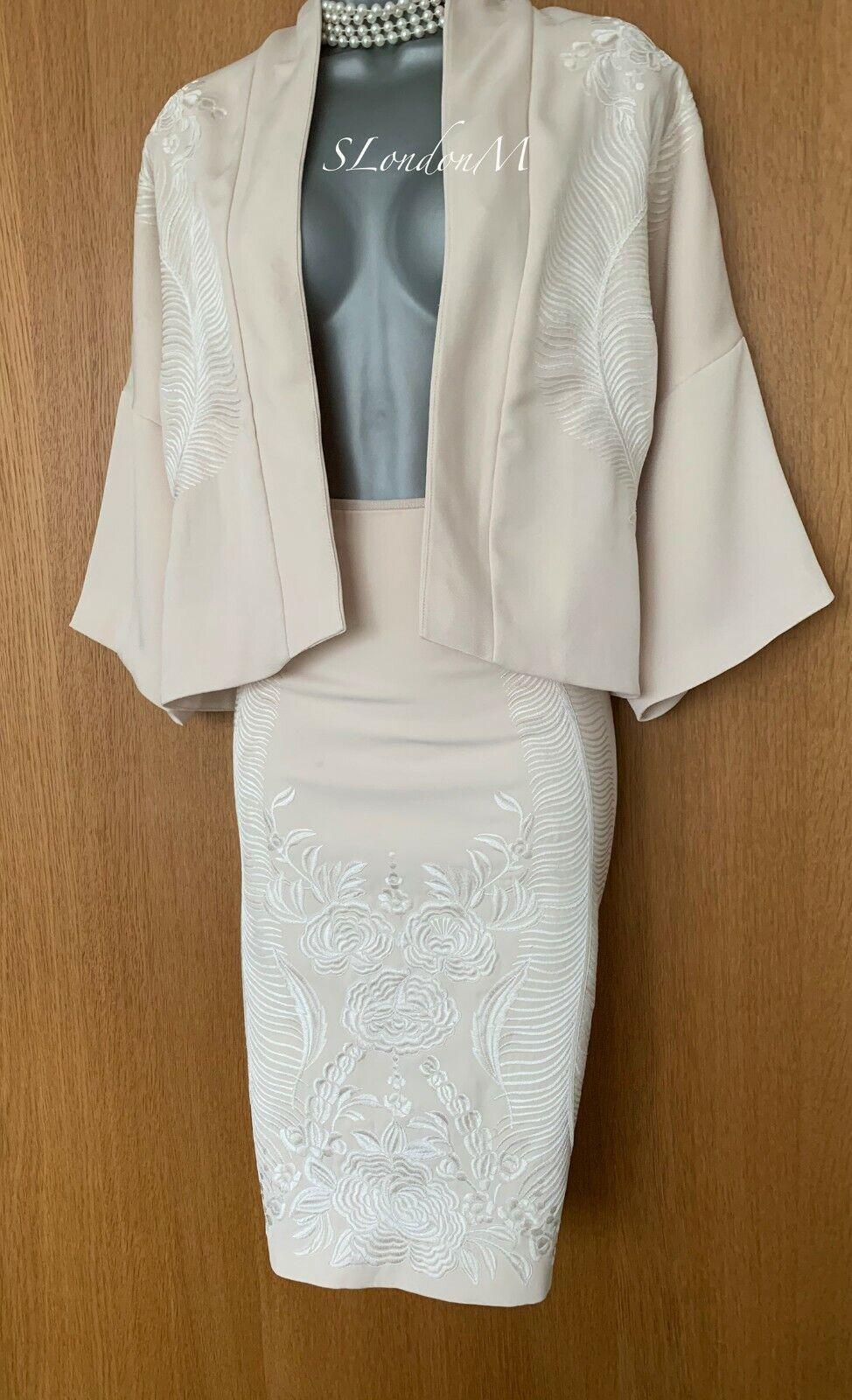 Umwerfend Karen Millen UK 10 Elfenbein Bestickt Formelle Suit Rock & Bolero