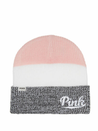 Victoria/'s Secret PINK COLORBLOCK Knit Beanie Hat Fall Winter Weather Cozy Grey