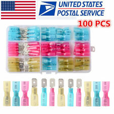 100x Electrical Heat Shrink Male Amp Female Spade Wire Connectors Terminals 22 10