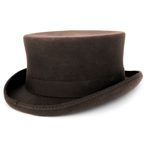Free Shipping Men/'s 100/% Wool Felt Classic Genuine Top Hat with Grosgrain Band