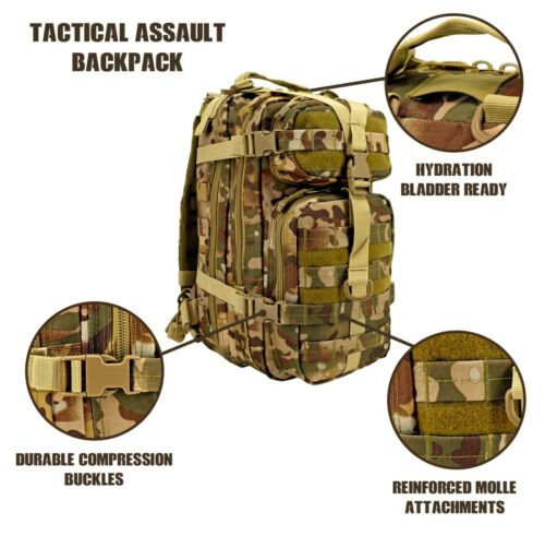 AC-USA Assault Tactical Backpack LvL III 26L Survival Bag Camp Hike OCP MULTI