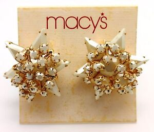 Macy S 6 Point Star Cluster Simulated Pearl Crystal Goldtone Clip On