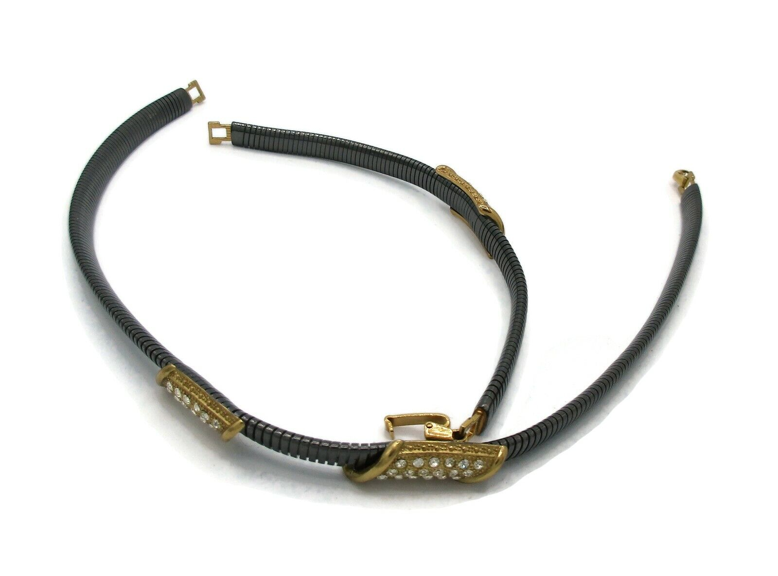 Vintage LANVIN Gun Metal Rhinestone Necklace Earr… - image 5