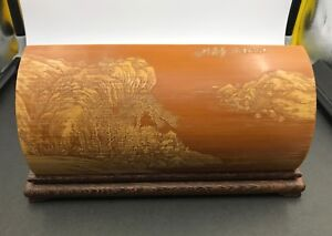 Chinese-Bamboo-Carved-Wrist-Rest-w-Rosewood-ZiTan-Seating