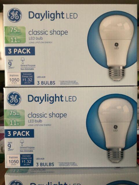 Daylight Led Bulbs: GE Daylight Led Classic Shape Light Bulb 3 Pack 11W