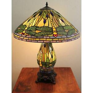 Tiffany Style 3 Light Victorian Green Yellow Stained Glass Shade Lit Base 25 H Ebay