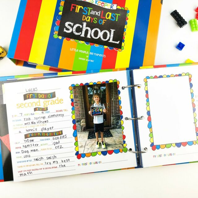 Two Grades School Memory Scrapbook Refill Extra Pages Kits for First /& Last Day of School for Class Keeper Memory Keepsake Book for Girls