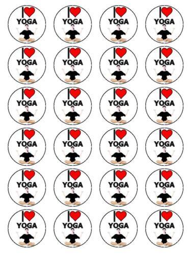 """X24 1.5/"""" i love yoga respiration méditation exercice cupcake topper sur papier de riz"""