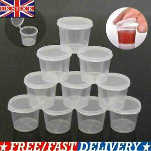 100Pcs Clear Plastic Sauce Boxes Ketchup Storage Containers Small Cups with Lids