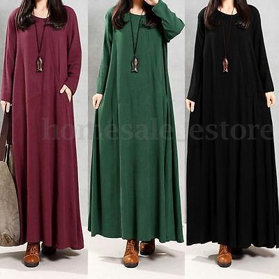 Zanzea Women Long Sleeve Casual Plain Long Maxi Dress Pocket Shirt Dress Kaftan