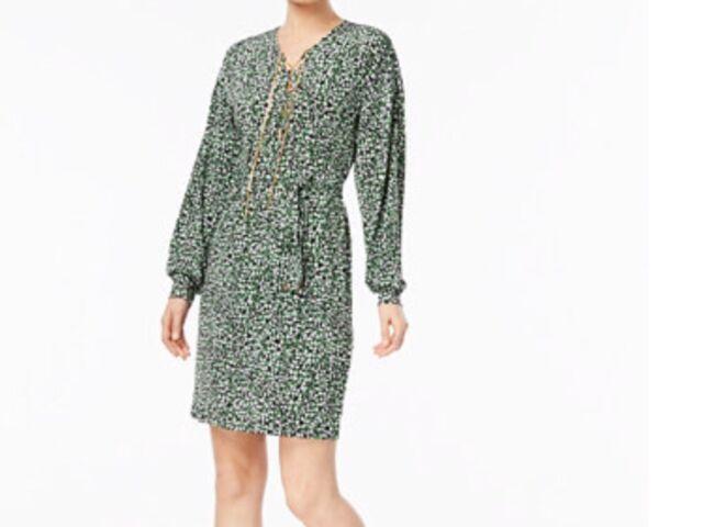 Michael Kors Macys Belted Shift Dress Palmblackgold Chain Lace Up Large