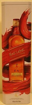 BRAND NEW EDITION JOHNNIE WALKER RED LABEL BRUSH PAINTED LOOK  TIN CASE BOX