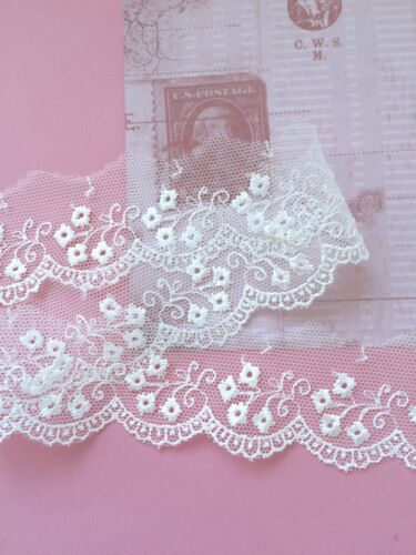 Blanc tulle dentelle brodé Dainty 42 mm Wedding Trim Craft voile