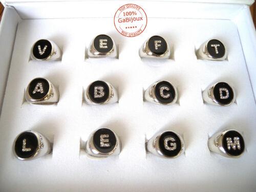 Anello Ring Lettera Iniziale Alfabeto color Argento Laccato Unisex Hipster Dark