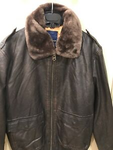 b6392c365 Details about Mens L Zara Faux Leather Bomber Jacket With Faux Fur Collar  Was $149 NWT