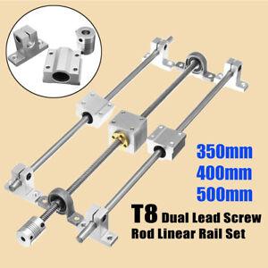 T8 350mm//400mm//500m mHorizontal Dual Lead Screw Rod Linear Rail Support Guide