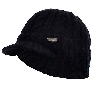FILA Chunky Cable Knit Winter Peaked Beanie Black Hat � One Size � Mens - Womens