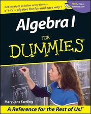 Algebra I for Dummies by Mary Jane Sterling (Paperback Book 2001) Math Alg 1