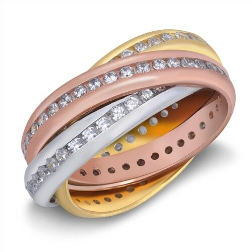 .925 Sterling Silver Eternity Band Tri-Color With Clear CZ Sz 5 6 7 8 9 10 NEW
