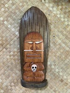 New-Standing-or-Wall-Mount-Happy-Cannibal-Tiki-Surf-Mask-Smokin-039-Tikis-Hawaii-fx