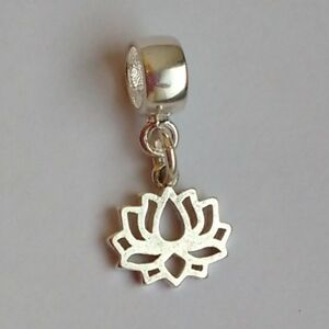 LOTUS-flower-Solid-925-sterling-silver-European-dangle-charm-bead-Pendant