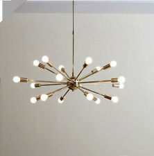 MID CENTURY MODERN POLISHED BRASS SPUTNIK CHANDELIER LIGHT FITTING 18 ARMS
