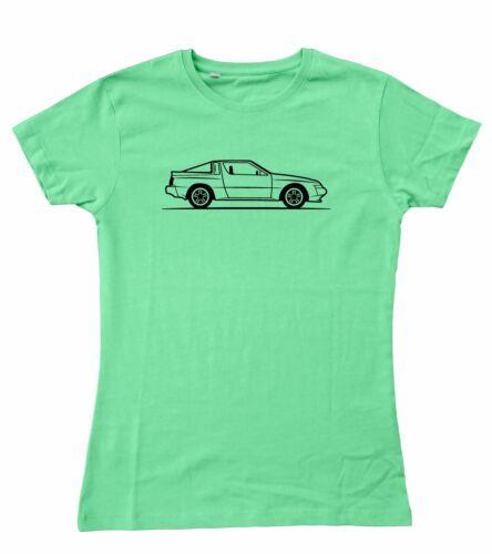 10-18 2XL Ladies Original Sketch Mitsubishi Starion Fitted T-Shirt S