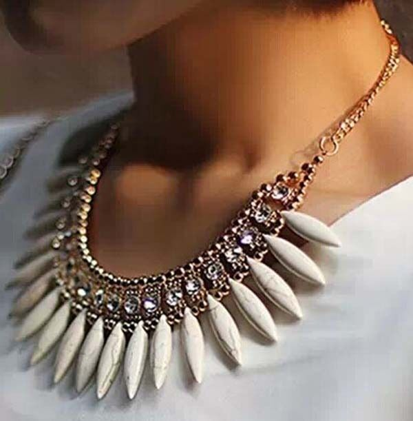 New Women Fashion Crystal Pendant Chain Choker Chunky Statement Bib Necklace
