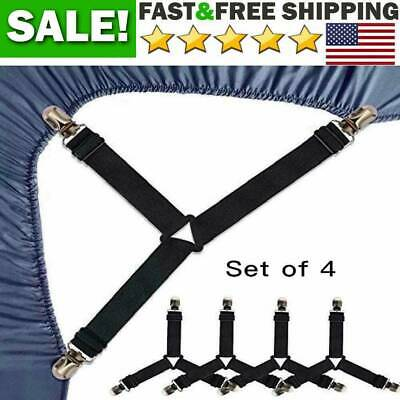 Set of 4 Bed Mattress Sheet Clips Grippers Straps Suspenders Fasteners Holders