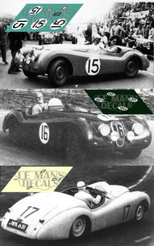 Calcas Jaguar XK120 Le Mans 1950 15 16 17 1:32 1:43 1:24 1:18 XK120S decals