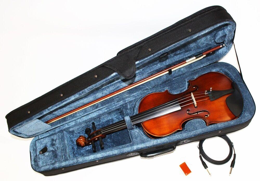 4 4 E-Geige E-Violine mit Tonabnehmer und EQ inkl Bogen und Koffer