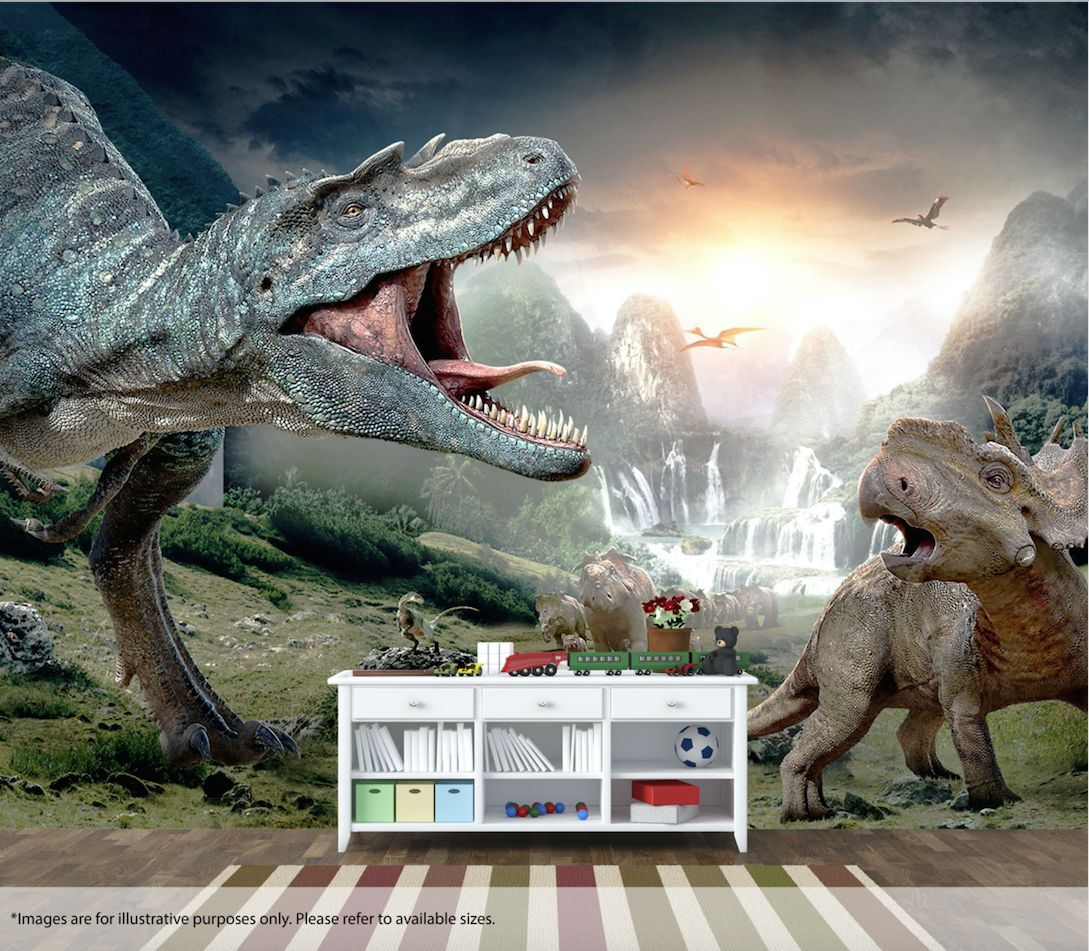 Dinosaur Wall Mural Wall Art Quality Pastable Wallpaper Decal Jurassic Age