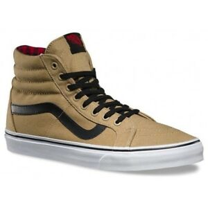 8b045f40373ef3 VANS Sk8 Hi Reissue (Twill   Gingham) Cornstalk Black Shoes WOMEN S ...