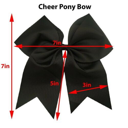 "Big 7/"" Cheer Bow Pony Tail 3 Inch Ribbon Girls Hair Bows Cheerleading"