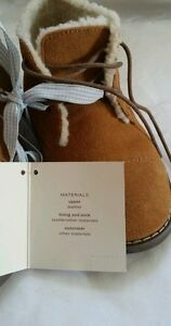 $65 JANIE and JACK Boys Sherpa Trim faux Suede BOOTS size 12, 13, 3K, 4K, 5K NEW