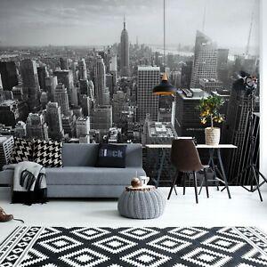 Camera Da Letto Carta Da Parati 368x254cm Murale Parete Black White Skyline Di New York Ebay