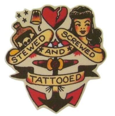 Anchor Pin Up Iron on Patch Flash Tattoo Applique Cotton Sailor Jerry Stars Red