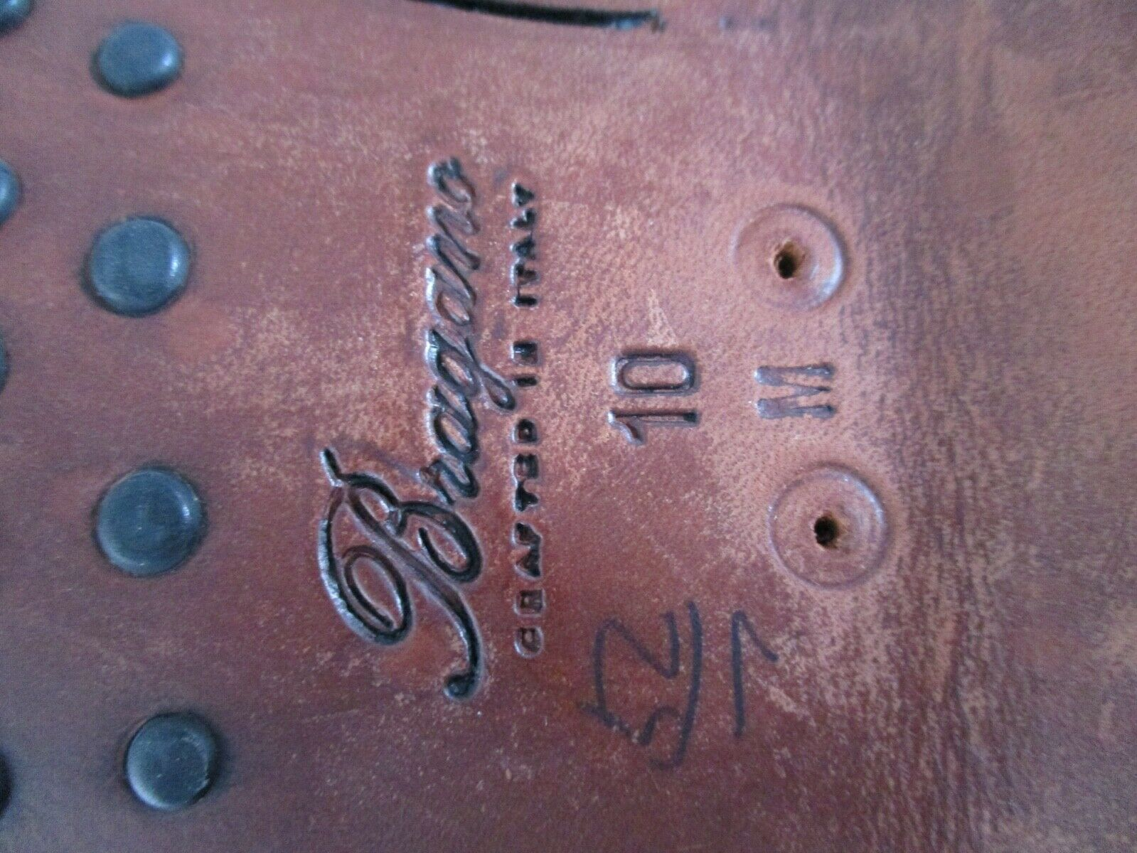Bragano authentic rare brown black woven leather … - image 4