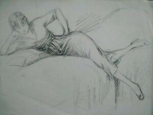 Dessin original Art Déco 1920 croquis étude femme lisant