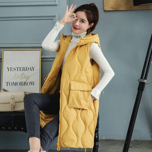 Womens Warm Cotton Down Vest Hooded Coat Jacket Sleeveless Waistcoat Long Parka