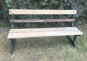 Admirable Details About Cast Iron Solid Heavy Vintage Antique Wooden Railway Garden Bench Caraccident5 Cool Chair Designs And Ideas Caraccident5Info