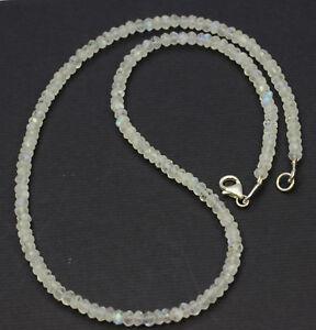 Arco Iris Piedra de la Luna Cadena Preciosa Facetada Rondell Noble Collar 45cm