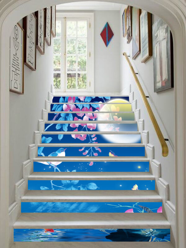 3D Moon pond 5 Stair Risers Decoration Photo Mural Vinyl Decal Wallpaper AU